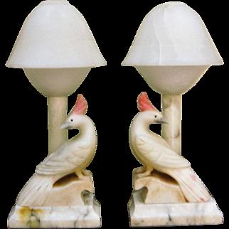 Pair Of Alabaster Cockatoo Bird Lamps W/ Original Alabaster Shades