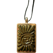 Large Carved Bakelite & Metal Pendant - Flower