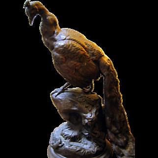 French Sculpture -Spelter Peacock & Lizard - Charles Valton ca. 1900