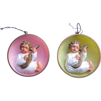 Pair Of Plastic Musical Angel Christmas Ornaments  - Signed Germany