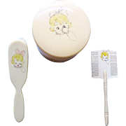Googly Eyed Celluloid Baby's Set -  Brush, Comb, Powder Container W/ Puff