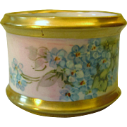 Floral Hand Painted Porcelain Napkin Ring - Forget-Me-Nots