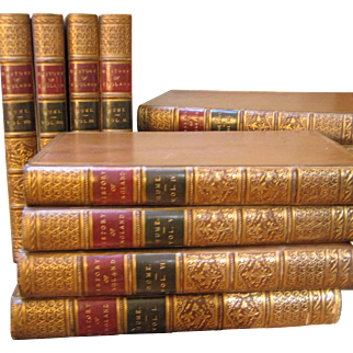 """Ca. 1826 Leather Book Set """"History Of England"""" Hume & Smollett 13 Vols.  Riviere Binding"""