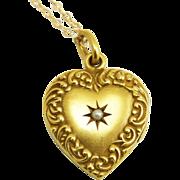 SALE SALE! Antique Edwardian 14K Scroll Border Heart Locket Pendant Necklace with Star-Set ...