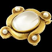 Antique 14K Gold Art Nouveau Moonstone & Pearl Brooch/Pendant
