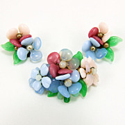 Vintage Germany Hand-wired Glass Pansy Flower Brooch & Earrings