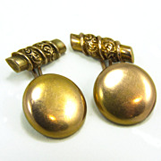Antique Victorian Repousse Gold Filled Cufflinks Cuff Links