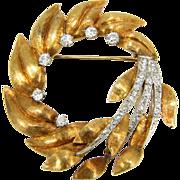 Large Vintage 18K Gold & 1 Carat TW Diamond Wreath Brooch