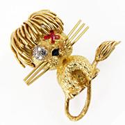 Vintage 18K Gold Diamond Sapphire Lion Brooch