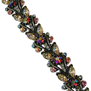 Florenza Vintage Bracelet Covered in Rhinestones and Artglass Stones