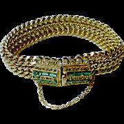 Substantial Vintage Bracelet with Rhinestone Clasp / Centerpiece