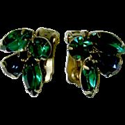 Deep Green Rhinestone Clip-On Holiday Earrings