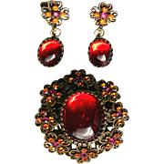 Hobe Designer Red Cabochon Brooch & Earrings Set