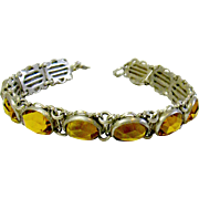 Dainty Vintage Metal & Yellow Glass Bracelet