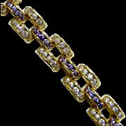 Most Beautiful Vintage Chunky Purple & Clear Sparkling Rhinestones Bracelet