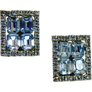 Show Stopping Baby Blue Vintage Rhinestone Earrings