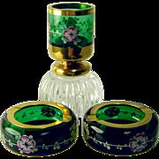 Vintage Bohemian Glass Smoking Set