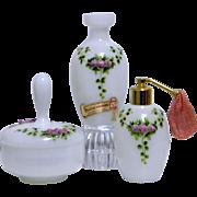 Vintage French Opaline Glass Vanity Set / Dresser Set