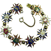 Vintage Souvineer Enameled Bracelet, c. 1950's