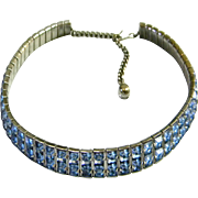 Blue Faceted Glass Choker Necklace, c. 1930's