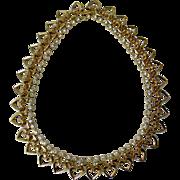 Vintage Trifari Hearts & Rhinestones Necklace, c. 1949