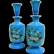 Vintage Blue Opaline Glass Barber / Scent Bottles  ~Matching Set of Two~