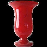 Czechoslovakia Vintage Red Art Glass Tango Vase
