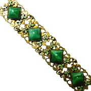 Vintage Gilt, Peking Glass & Enamelled Leaves Bracelet