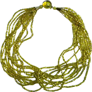 Vintage Sparkling Yellow Torsade Glass Seed Bead Necklace, c.1950's