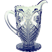 Vintage Pressed Pattern Glass Milk Pitcher