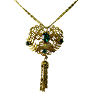 Vintage Delicate Brass Choker Necklace with Green Glass Stones