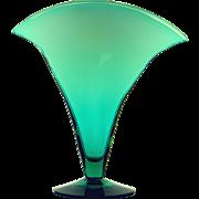 Blenko Tall Vintage Blown Glass Fan Vase
