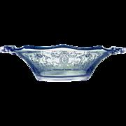 Viking Glass Vintage Handled Bonbon Bowl Prelude Etch