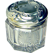 Pretty Vintage Vanity Jar with Sterling Silver Repousse Top