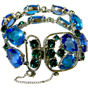 Stunning Signed SELRO Runway Bracelet with Two Rows of Brilliant Glass Stones & Rhinestones