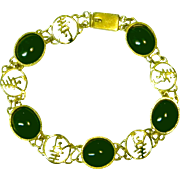 Vintage Bracelet with Green Glass Cabochons & An Oriental Flair