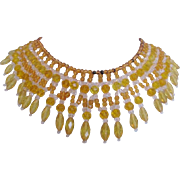 Vintage West German Yellow Crystal and Glass Bib Necklace
