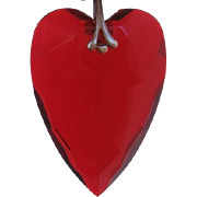 Vintage Plastic Ruby Red Faceted Heart Pendant