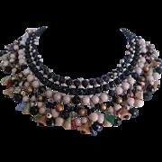 Vintage Glass Bead- Art Glass Flower/Fruit and Leaf Bib Statement Necklace