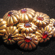 Beautiful Brass Floral Red Rhinestone Pin-Brooch