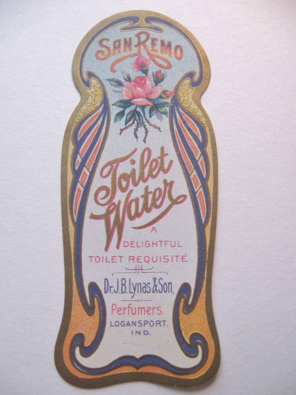 Original Art Nouveau Vintage Perfume Label-San Remo Toilet Water