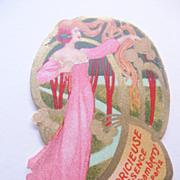 SOLD Vintage Original Perfume Label Art Nouveau Lady in the Trees-La Capricieuse Essence J Cha