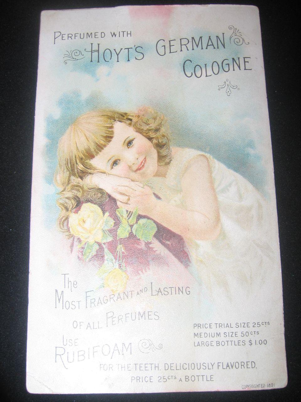 Vintage Original 1891 German Perfume Trade Card-Hoyt's German Cologne