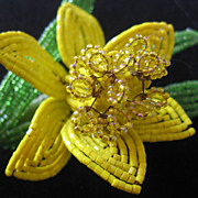 REDUCED Vintage Large Beaded Yellow Daffodil Brooch-Pin