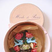 Vintage Blue Bird Hat-Brooch-Pin with Mini Hat Box-Mode de Paris