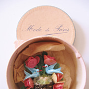 REDUCED Vintage Blue Bird Hat-Brooch-Pin with Mini Hat Box-Mode de Paris
