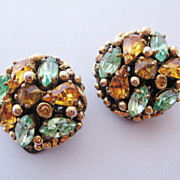 REDUCED Vintage Signed Barclay Amber and Sea Foam Green Rhinestone Earrings