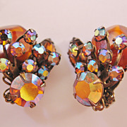 Vintage Judy Lee Amber and Aurora Rhinestone Earrings