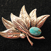 Vintage Sterling Leaf and Faux Turquoise Pin-Brooch