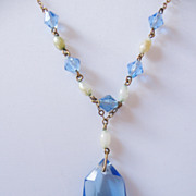REDUCED Deco Light Blue Faceted Crystal and Faux Pearl Drop Necklace